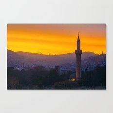 A minaret engulfed by birds Canvas Print