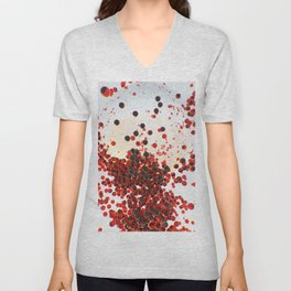 Abstract with red glowing spheres Unisex V-Neck
