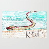 monty python Area & Throw Rugs featuring The Python by Ryan van Gogh
