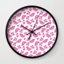 Pink Love Birds Wall Clock