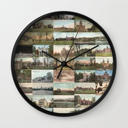Kirkbride Asylum Vintage Postcard Collage Wall Clock
