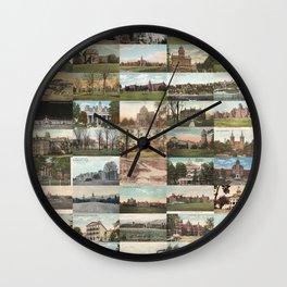Kirkbride Asylum Vintage Postcard Collage Wall Clock
