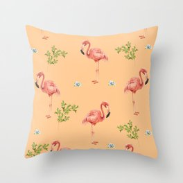 Flamingo Print Throw Pillow