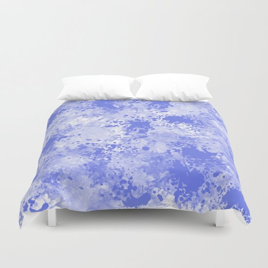 Blue Watercolor Paint Splatter Abstract Duvet Cover