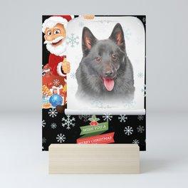 Schipperke Only Face Christmas dog lover gift Mini Art Print