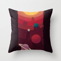 solar system Throw Pillows featuring Solar System by badOdds