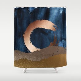 Navy Blue, Gold And Copper Abstract Art Shower Curtain