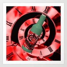 Time in a Bottle Red Art Print