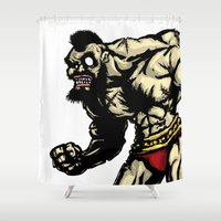 street fighter Shower Curtains featuring Bear Wrestler - Street Fighter by Peter Forsman