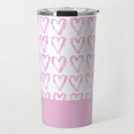 Heart Pattern Pink Travel Mug