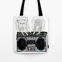 Hedgehogs on Boombox Tote Bag