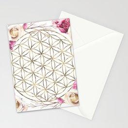 Flower of Life Rose Garden Gold Stationery Cards