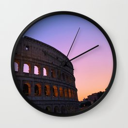 Italy Photography - Sky Fade Over The Colosseum Wall Clock