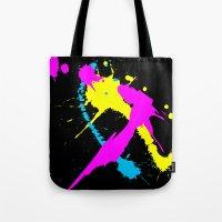 splatter Tote Bags featuring Splatter by Spooky Dooky