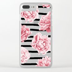 Simply Drawn Stripes and Roses Clear iPhone Case