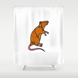 A Rat Standing on its legs Sniffing in Color Shower Curtain