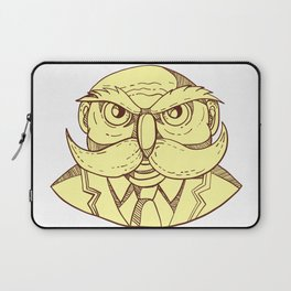 Angry Owl Man Mustache Doodle Color Laptop Sleeve