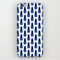 nail polish iPhone & iPod Skins featuring Blue Nail Polish by lilacattack