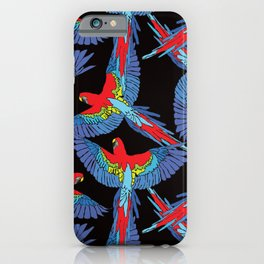 Rainforest Parrot Flock Toss iPhone Case