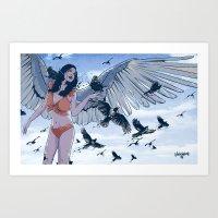 raven Art Prints featuring Raven by Radical Ink by JP Valderrama