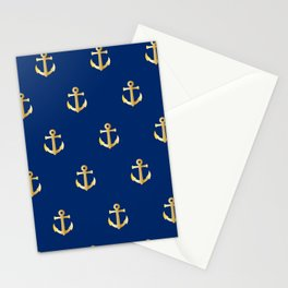 Gold Anchor Pattern on a Blue Background Stationery Cards
