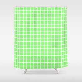 Grid (White & Lime Pattern) Shower Curtain