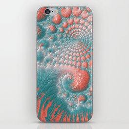 Abstract Coral Reef Living Coral Pastel Teal Blue Texture Spiral Swirl Pattern Fractal Fine Art iPhone Skin
