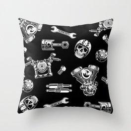 Cafe Racer Pattern Throw Pillow