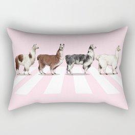 Llama The Abbey Road Pink Rectangular Pillow