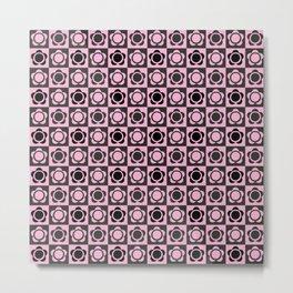 RETRO FLOWER - PINK AND BLACK Metal Print