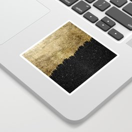 Faux Gold and Black Starry Night Brushstrokes Sticker