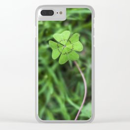 Four Leaf Clover Clear iPhone Case