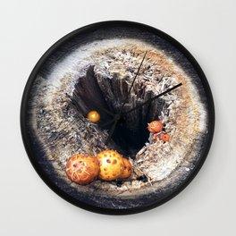 Deep hole in autumn tree stump Wall Clock