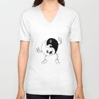 yin yang V-neck T-shirts featuring Yin-Yang by K-NIZZY