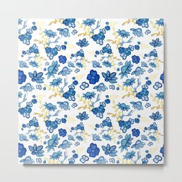 Blue and Yellow Watercolour Floral Pattern Metal Print