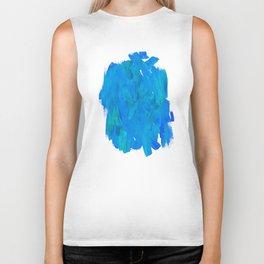 Blue Paint Abstract Biker Tank