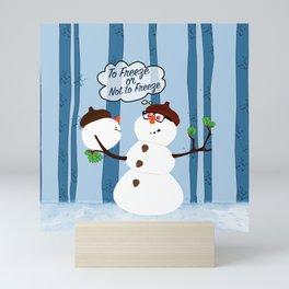 Funny Snowman Holiday Design Mini Art Print