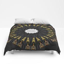 Dark Black Gold & White Marble Mandala Comforters