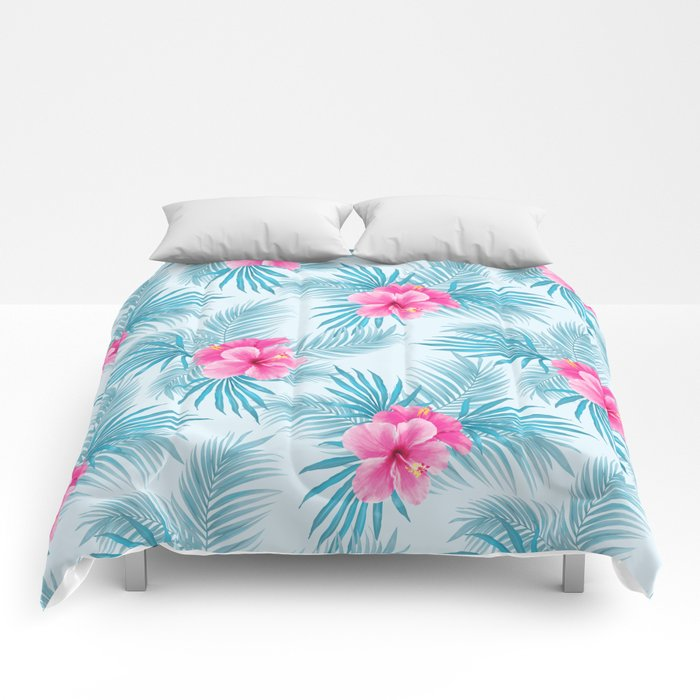 Pink Hibiscus On Palms Comforters By Marieannem Society6