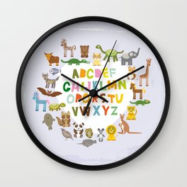 back to school. alphabet for kids from A to Z. funny cartoon animals Wall Clock