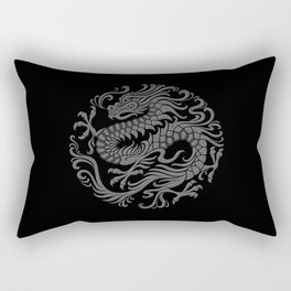 Traditional Gray and Black Chinese Dragon Circle Rectangular Pillow