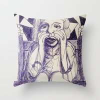 prince Throw Pillows featuring Prince by black door