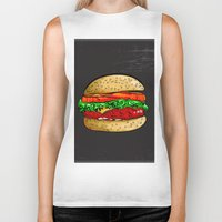 burger Biker Tanks featuring Burger by YusufSangdes