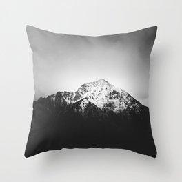 Black and white snowy mountain Throw Pillow