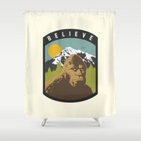 bigfoot Shower Curtains featuring Bigfoot Patch by uhohreilly