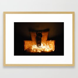 Salem on a chair. Framed Art Print