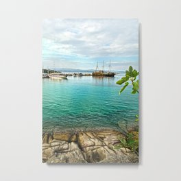 Turquoise sea with old sail boat Metal Print