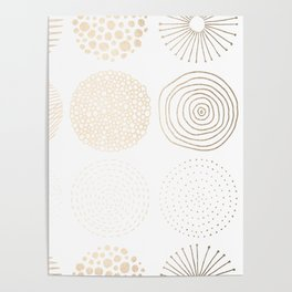 Simply Mod Circles in White Gold Sands on White Poster