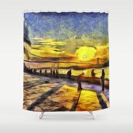 Sunset Fishing Istanbul Van Gogh Shower Curtain