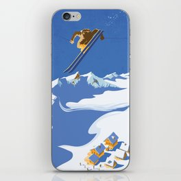 Retro Sky Skier iPhone Skin